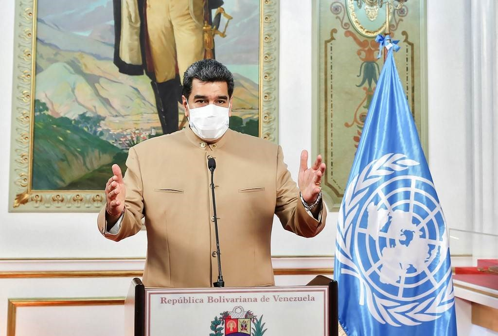 الرئيس الفنزويلي نيكولاس مادورو في رسالة متلفزة من كاراكاس (أ ف ب).