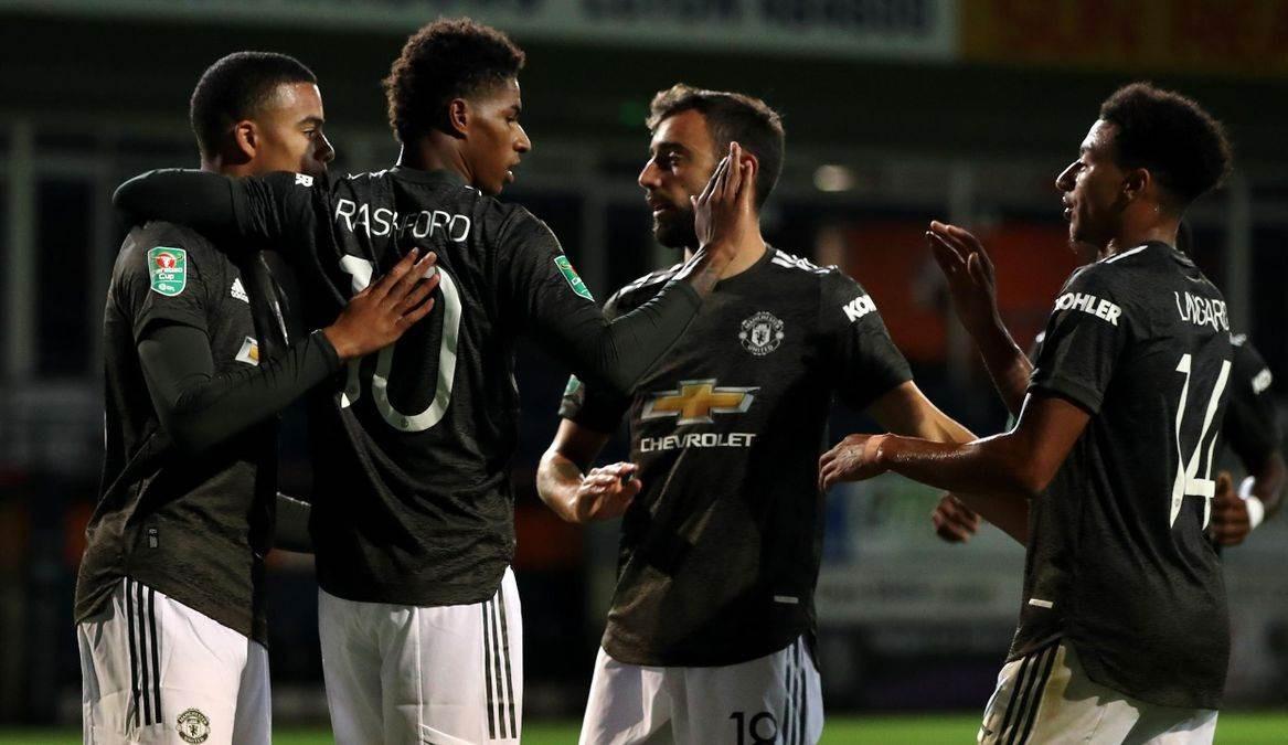 لاعبو يونايتد يحتفلون بأحد الأهداف