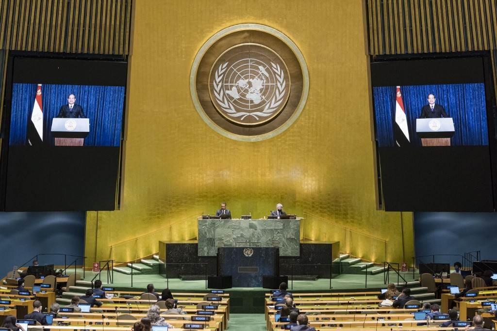 خلال إلقاء السيسي كلمته عبى الفيديو للجمعية العامة للأمم المتحدة أمس (أ.ف.ب)