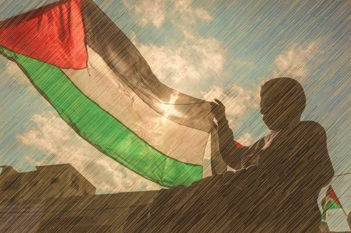 طفل فلسطيني يشارك في احتجاج ضد ما يسمى بـ