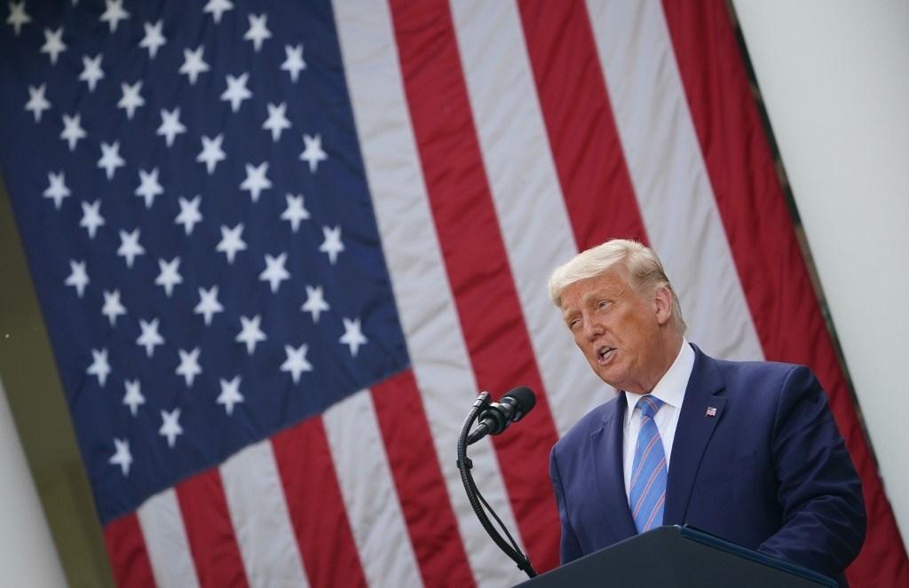 ترامب خلال مؤتمره الصحفي حول فيروس كورونا في البيت الأبيض - 28 سبتمبر 2020 (أ.ف.ب)
