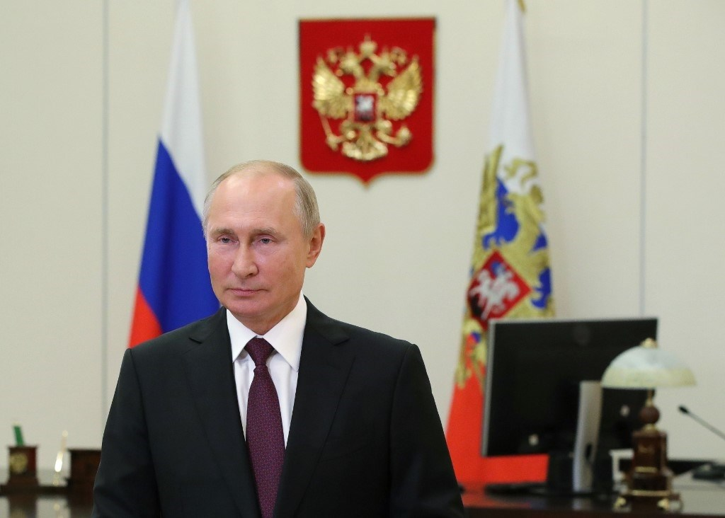 بوتين مخاطباً المشاركين في المنتدى السابع لأقاليم روسيا وبيلاروسيا عبر الفيديو - 29 سبتمبر 2020 (أ.ف.ب)