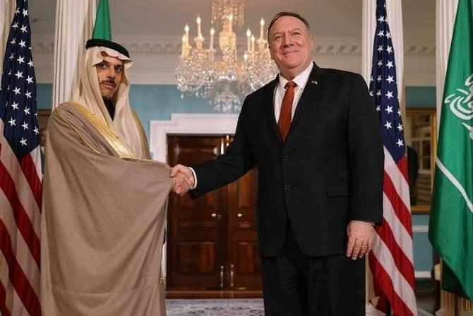 بومبيو خلال لقائه السفير السعودي فيصل بن فرحان