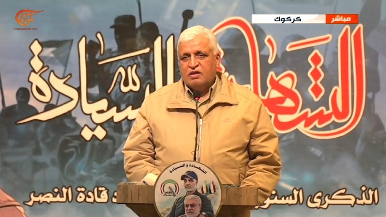 رئيس هيئة الحشد الشعبي فالح الفياض في ذكرى استشهاد قادة النصر.