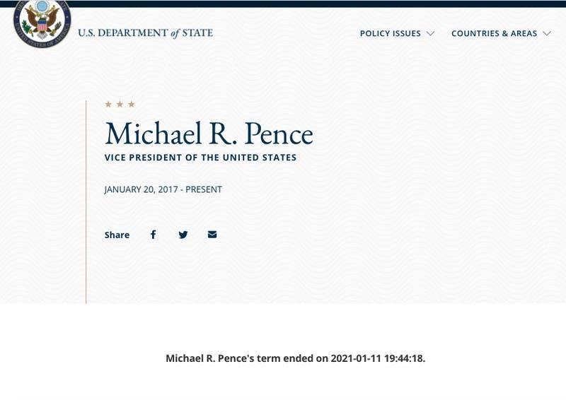 لقطة شاشة لسيرة بنس الذاتية على موقع وزارة الخارجية بعد ظهر يوم الاثنين.