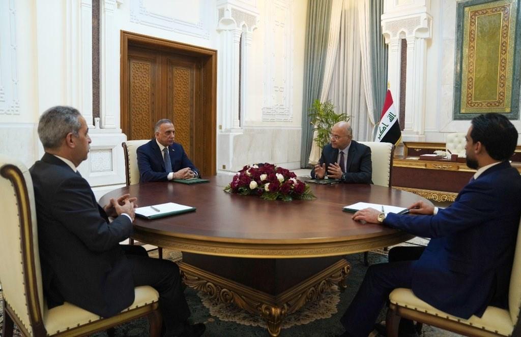 اجتماع الرئاسات العراقية في قصر بغداد اليوم.