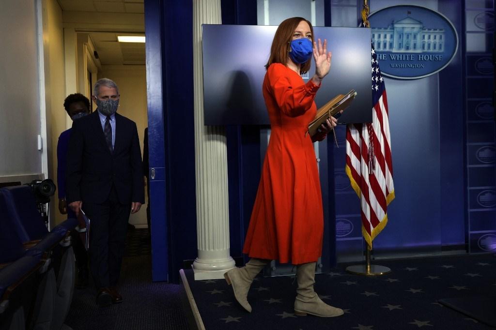 جين بساكي في غرفة الإحاطة الصحفية في البيت الأبيض - واشنطن 21 كانون الثاني (أ ف ب).