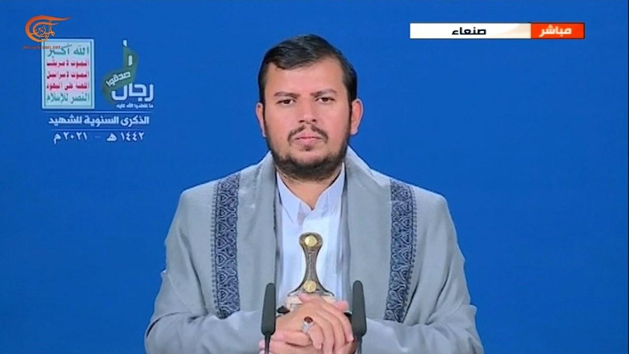 الحوثي خلال كلمته بمناسبة الذكرى الأولى لاستشهاد سليماني والمهندس