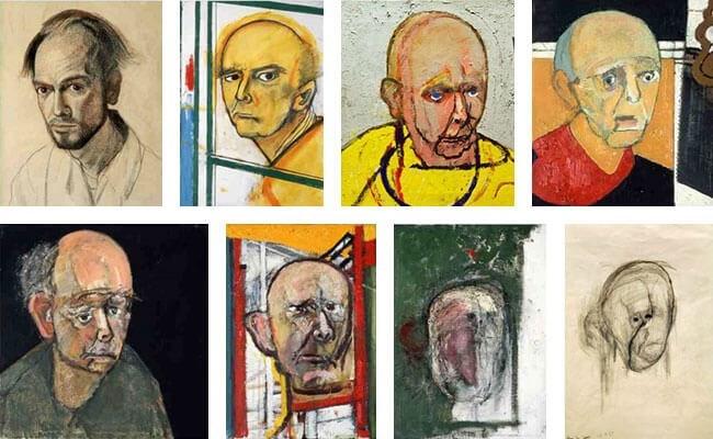 لوحات للفنان وليام أوترمولين حاول فيها رسم نفسه بعد إصابته بمرض الزهايمر بدءاً من العام 1996