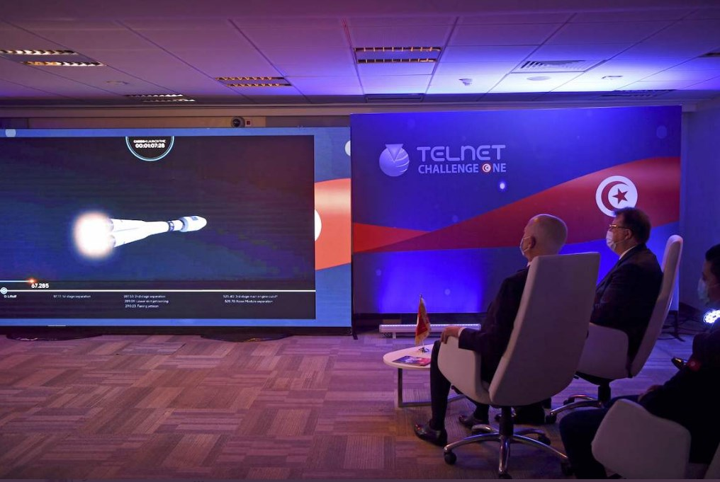 Tunisian President Kais Saied attending the Challenge-1 launch.
