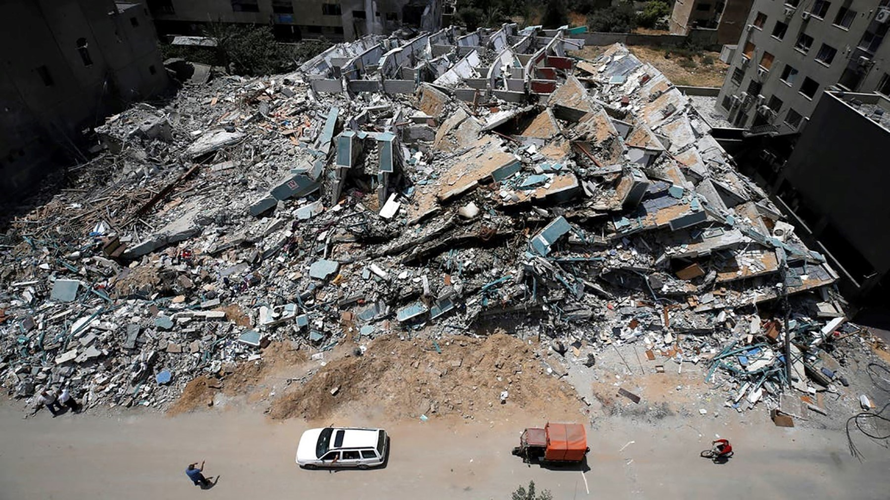 A destoyed building in the Gaza Strip.