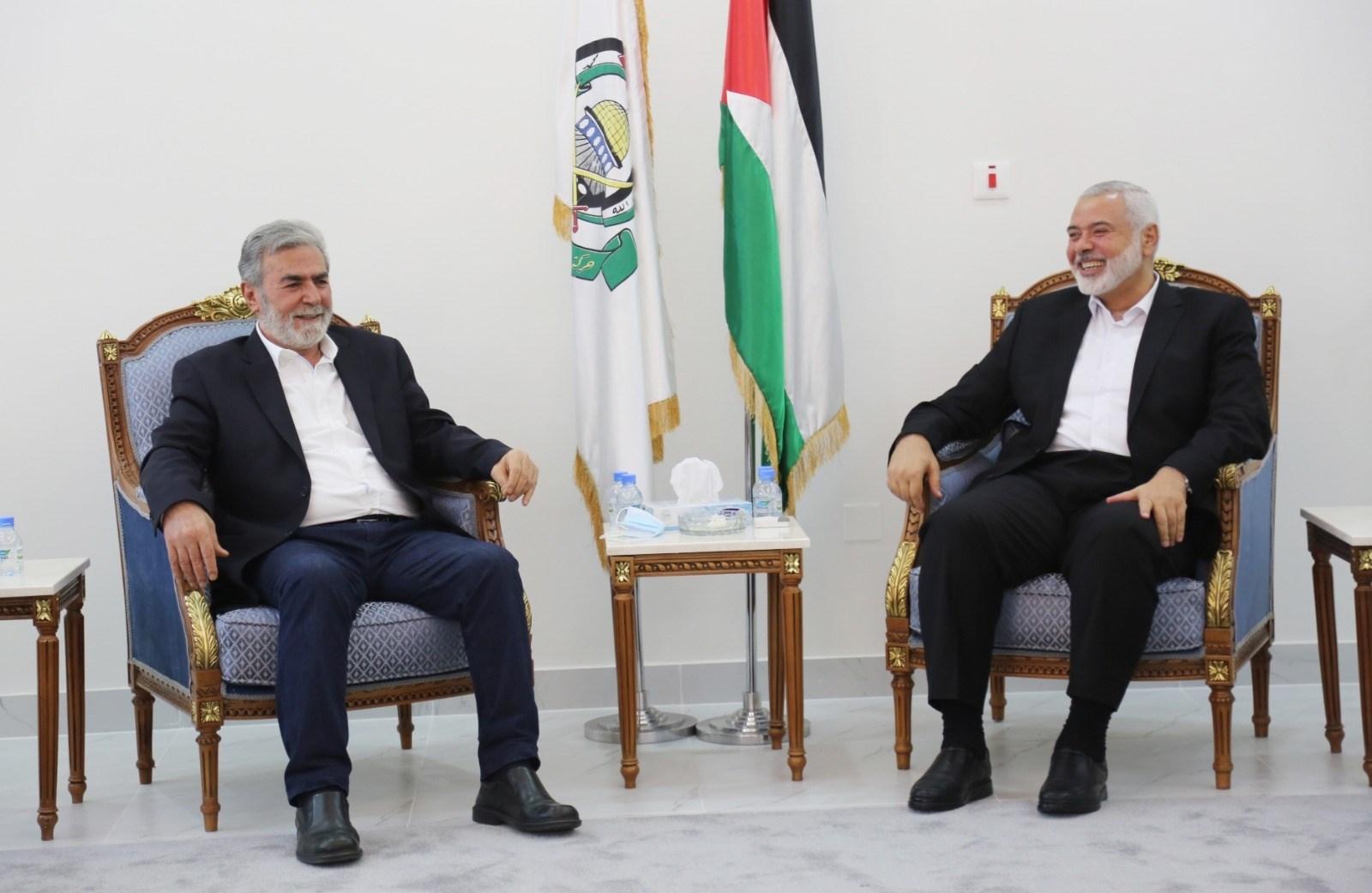 Hamas political bureau leader Ismail Haniyeh and PIJ Security-General Ziyad al-Nakhalah