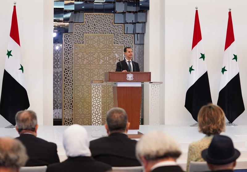 Al-Assad speaking before the People's Assembly