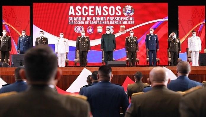 Venezuelan President Nicolas Maduro during a military ceremony