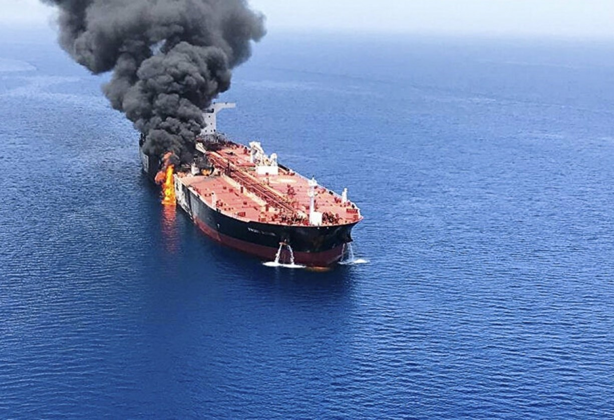 An oil tanker attacked off the coast of Oman