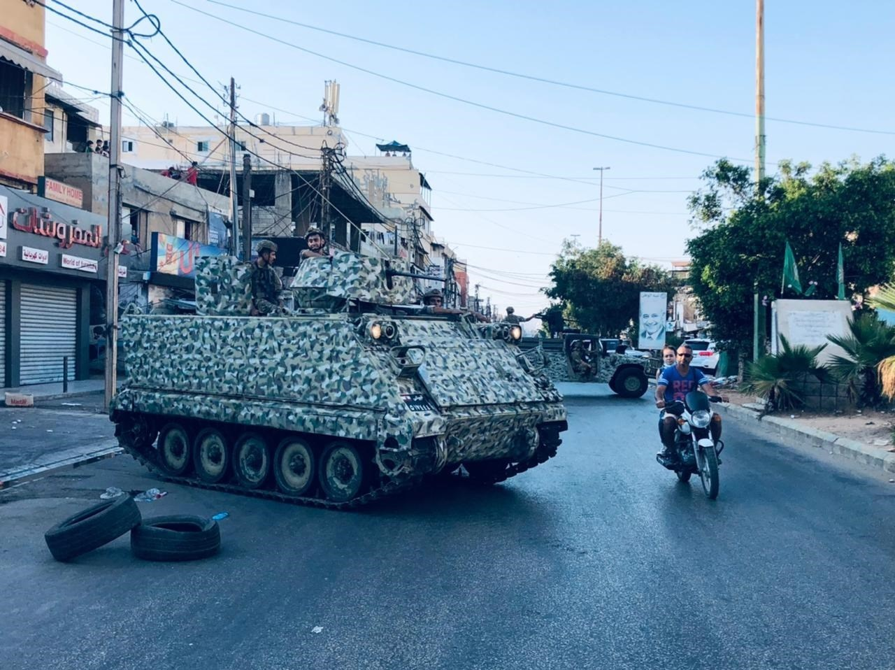 Lebanese army deployed in Khalde after a funeral was ambushed