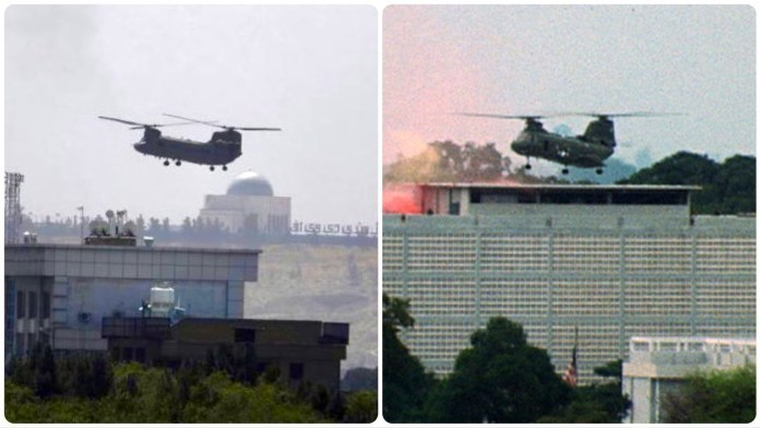 People lifted off the US embassy in Kabul (2021) and Saigon (1975).