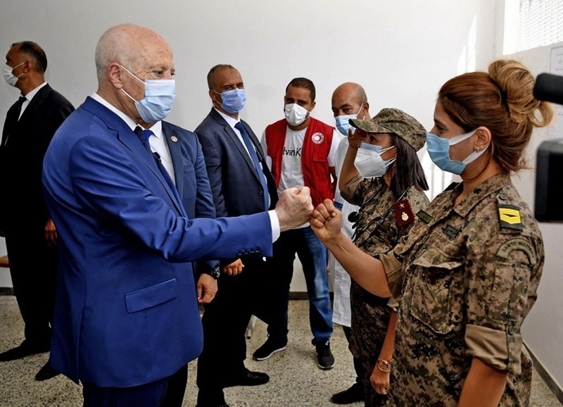 Tunisian President Kais Saied during his visit to the COVID-19 vaccination center