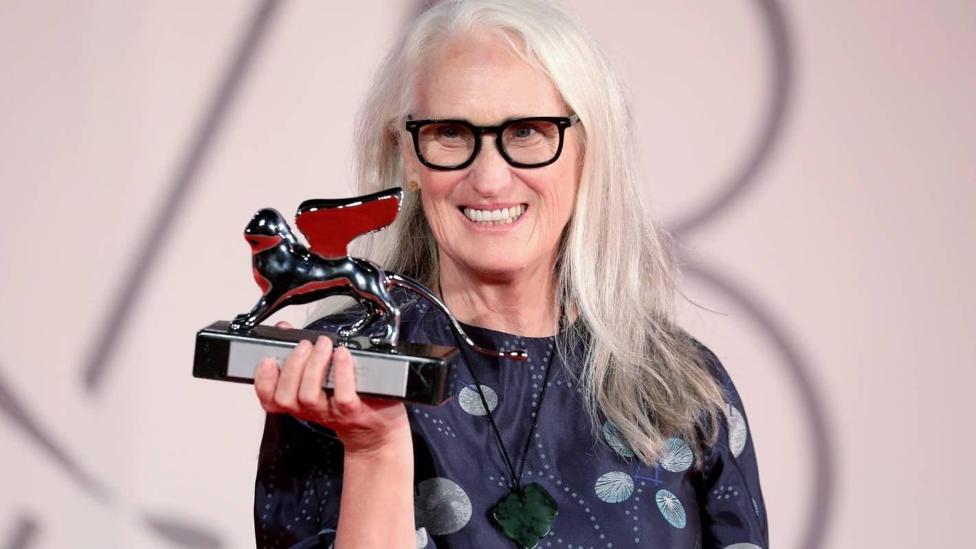 New Zealand filmmaker Jane Campion and her Silver Lion trophy