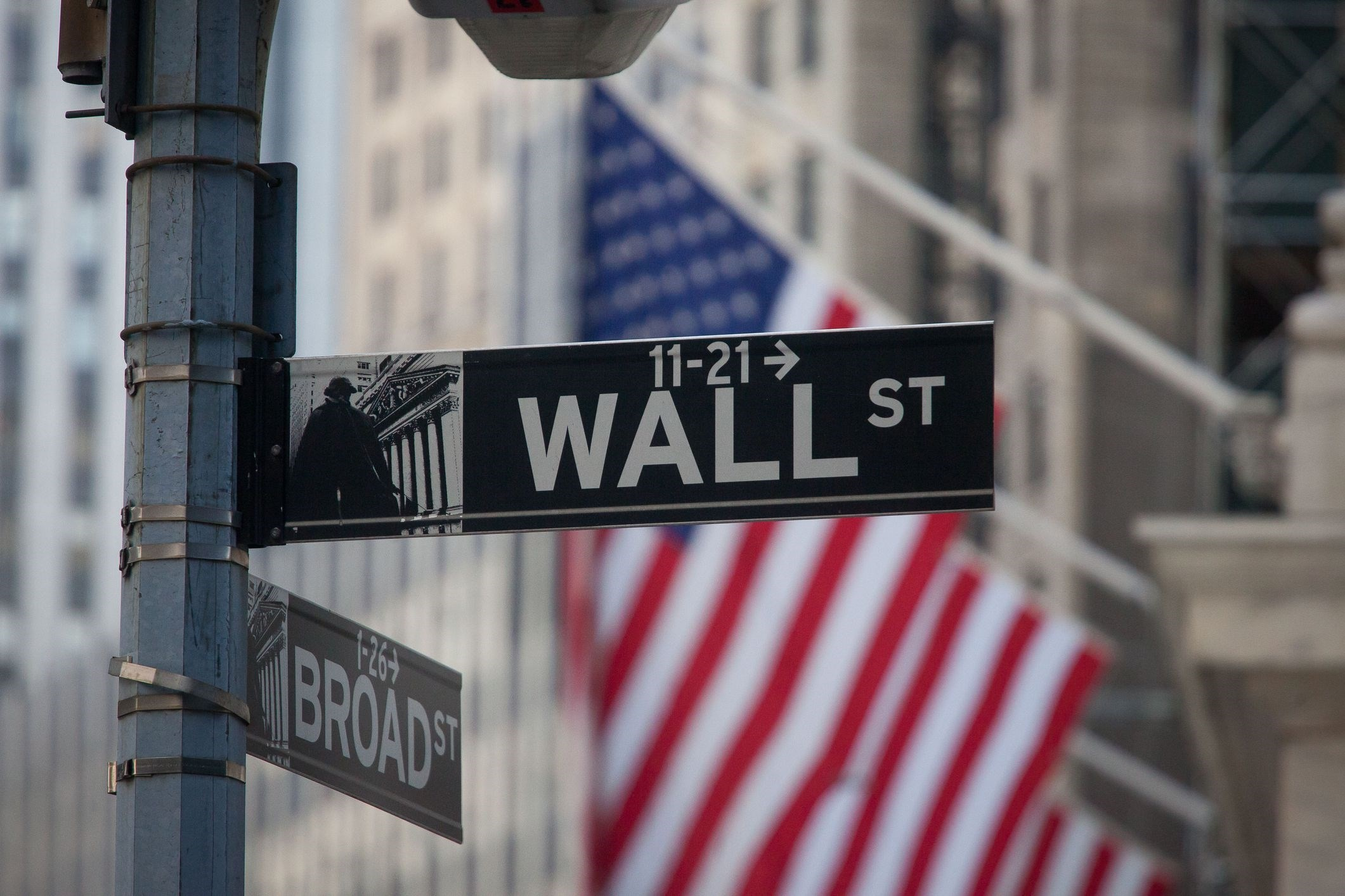 A Wall Street sign is displayed in front of the New York Stock Exchange (NYSE) in New York, US | Bloomberg