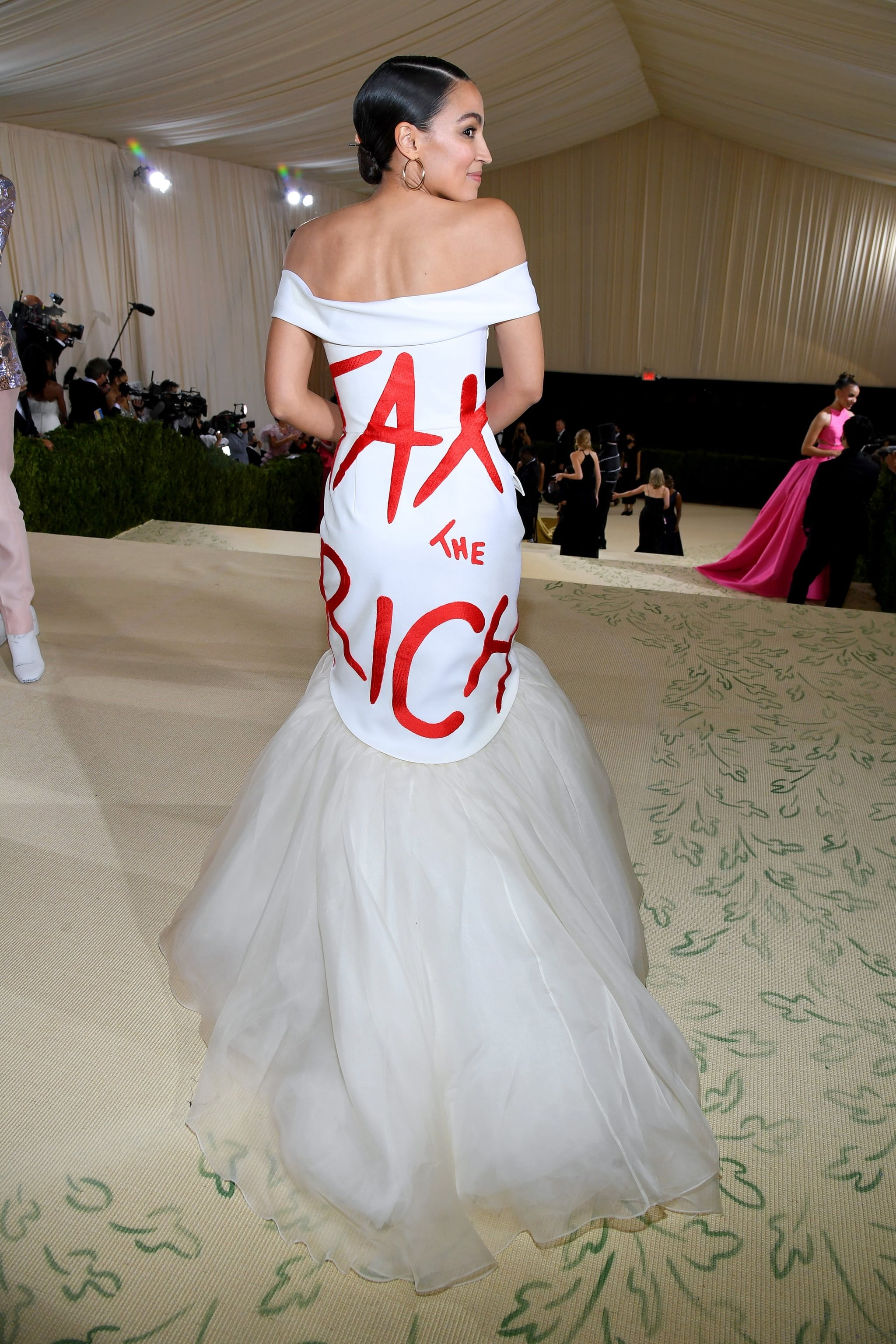 Ocasio-Cortez attends The 2021 Met Gala Celebrating In America: A Lexicon Of Fashion at Metropolitan Museum of Art on Sept 13, 2021 in New York City   Vogue
