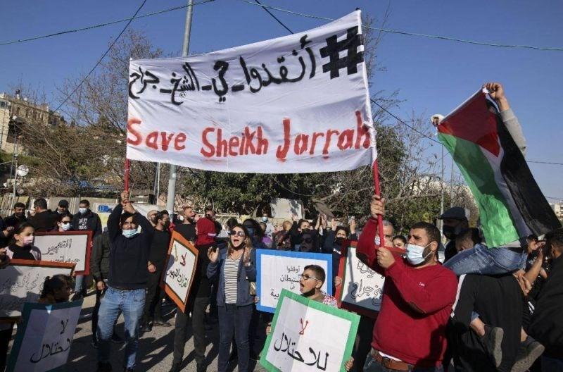 Protesters demonstrate in the neighborhood of Sheikh Jarrah