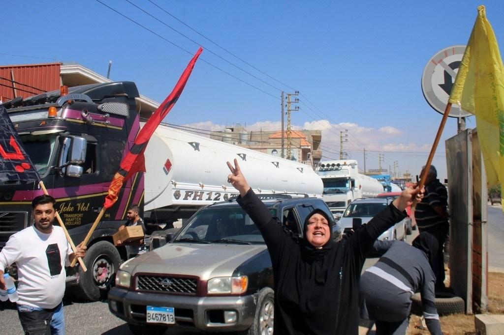 Social media users celebrated the arrival of the Iranian diesel tanker trucks to Lebanon.
