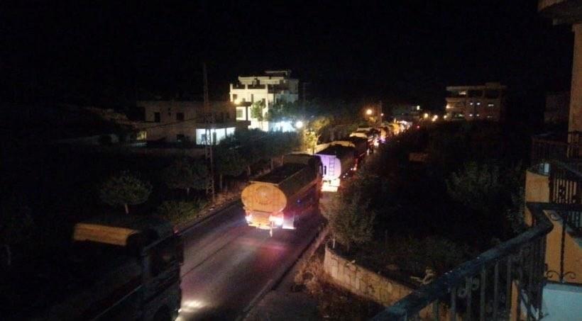 The tanker trucks, after crossing the Lebanese-Syrian border
