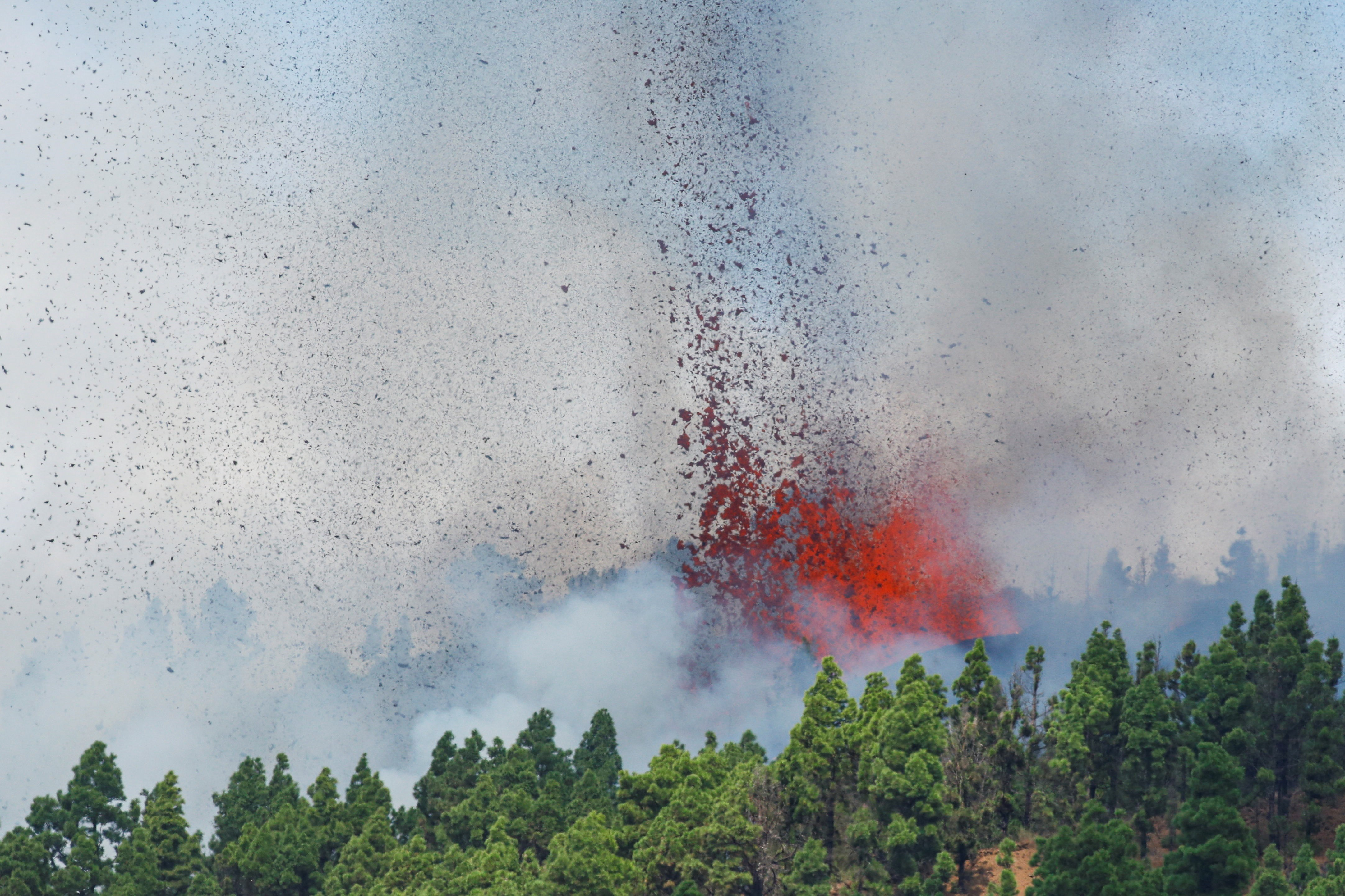 Red-hot lava spews from volcano on La Palma in Spain's Canary Islands